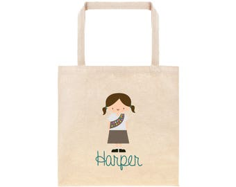 Brownie Girl Scout Personalized School Tote Bag // Custom Brownie Scout Book Bag // Girl Scout Personalized Tote Bag