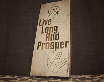 Live Long And Prosper –Star Trek Home Decor –Spock –Vulcan –Star Trek Quote Sign