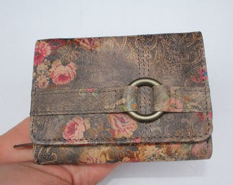 Multi Compartment Small Ring Wallet Vintage Inspired Floral Leather