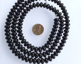 125 Vintage trade Czech Disk-Spacers Bohemian black Glass beads