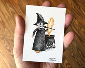 ACEO Original Art, Pen and Ink Drawing with Watercolor, Cute Skeleton Witch with Cauldron, Inktober 2017 Halloween Art by Laurie A. Conley