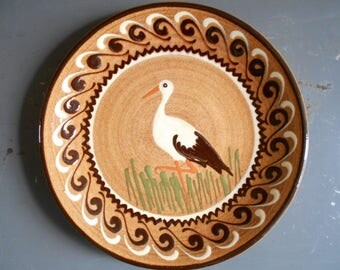 Fine antique French stork decorative plate, Alsace glazed ceramic art, wall hanging plate, kitchen decor.