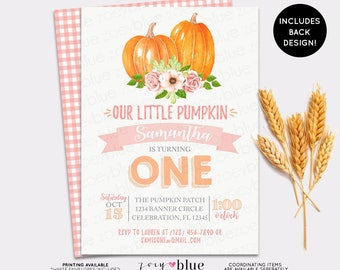 Pumpkin Birthday Invitation - Girl Little Pumpkin First Birthday - Girl Fall Birthday - Pumpkin Patch Birthday Invite - Pink Orange Autumn