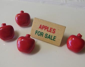 SALE!*** apple season buttons 4 red apples and apple sign all buttons craft scrap booking