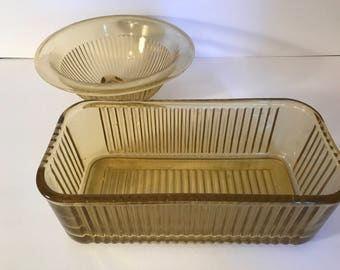 Vintage Amber Yellow Ribbed Mixing Bowl and Loaf Dish by Federal Glass-1940's