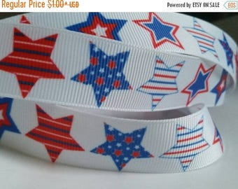 "ON SALE 7/8"" grosgrain ribbon  BIG Star print -fourth of july hairbow supplies"