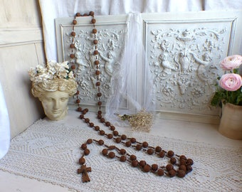 Vintage french giant Lourdes rosary made of hand carved wooden beads. Our Lady of Lourdes pilgrimage rosary. Notre Dame de Lourdes