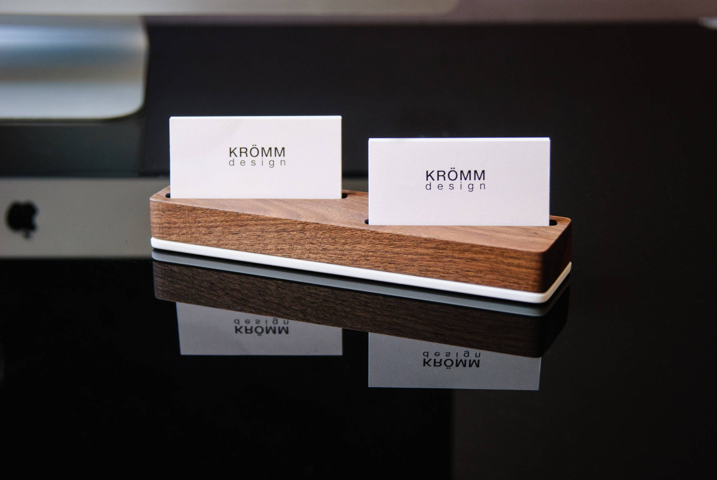 Wood Business Card Stand for Horizontal Cards placed at angle ...