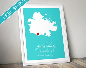 Personalized Antigua Map Print - Wedding Guest Book Poster, Wedding Gift, Engagement Gift