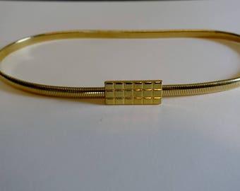 Vintage 80s Gold Bar Thin Skinny Stretch Belt