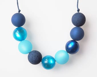 blue turquoise necklace with big pearls statement polaris necklace
