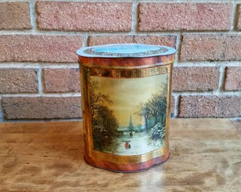 Vintage English Biscuit Tin with Winter Scenes