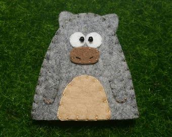 Wool Felt Wombat Finger Puppet