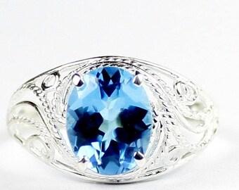 On Sale, 30% Off, Swiss Blue Topaz, 925 Sterling Silver Ladies Ring, SR083