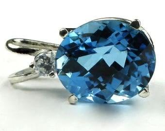 On Sale, 30% Off, Swiss Blue Topaz, 925 Sterling Silver Pendant, SP022