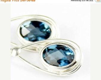 On Sale, 30% Off, London Blue Topaz, 925 Sterling Silver Leverback Earrings, SE008