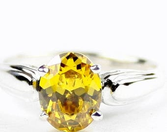 On Sale, 30% Off, Golden Yellow CZ, 925 Sterling Silver Ring, SR058