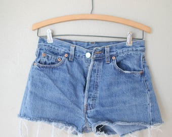 vintage 1980's distressed cut off levis 501 button fly  jean shorts 28 30