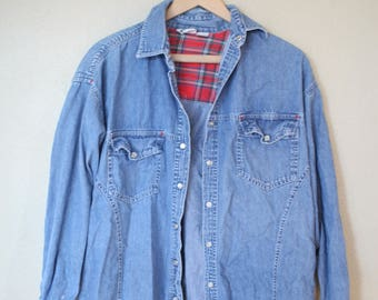 vintage 1990's sassoon pearl snap blue chambray western denim  work shirt *