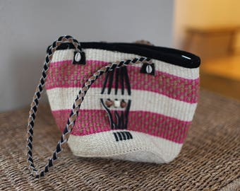 vintage pink and tan leather native woven tote bag