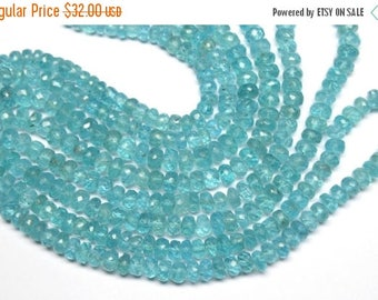 40%OFF Greenish Blue 14 Inch 6-7mm Fine Quality Natural Blue Green Apatite Faceted Rondelle Beads Strand(0991)