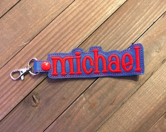 Personalized Name Tag, Personalized Name Keychain, Personalized Name Zipper Pull ---70 Colors --- Michael Outline Font