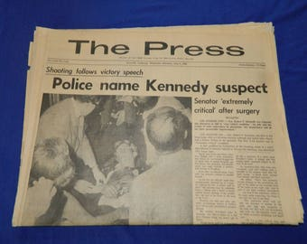 Robert Kennedy Assassination 6 - 5 - 68 The Press Riverside Newspaper