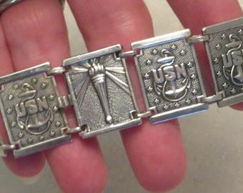 Vintage 1940's WWII era US United States Navy USN military sterling silver panel link unisex or sweetheart bracelet