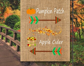 Fall Garden Flag. Pumpkin Garden Flag. Apple Garden Flag. Personalized Garden Flag. Custom Garden Flag. House Warming Gifts. Autumn Flag.