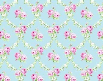 Charlotte Blue Rose Trellis Yardage SKU# PWTW148.BLUEX  by Tanya Whelan for Free Spirit Fabrics