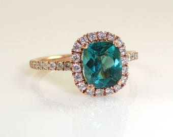 1.50 Carat Paraiba Color Apatite Ring with Diamond Halo In 14k Rose Gold (144586)