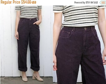 30% OFF Vintage 80s Trousers | 80s High Waist Wide Wale Corduroy Straight Leg Purple | Large L 32""