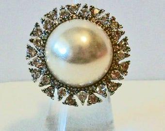 Elegant Extra Large Round Pearl and Rhinestone Fashion Ring Adjustable Band