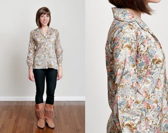 1970s Neutral Tone Floral Blouse - Boho - Disco - Soft • S