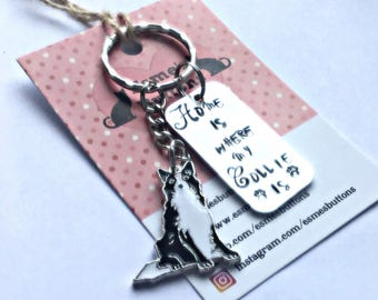 Collie gift, Collie gifts, Hand Stamped, Key Chain, Home is Where my Collie is, Dog Lover, Collie dog gift, for her, for him