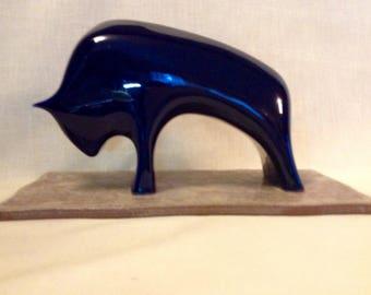 Furstenberg cobalt blue modernist bull