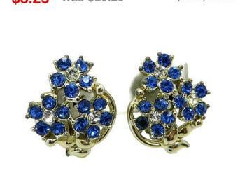 ON SALE! Blue Rhinestone Flower Bouquet Earrings Vintage Blue and White Silver Tone Flower Clip on Earrings Gift Idea