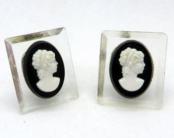 Lucite Cameo Earrings, Vintage Black White Cameo Lucite Square Screwback Earrings