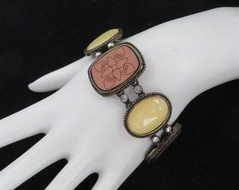 Vintage Lucite & Wood Bead Bracelet, Rhinestone Studded Bronze Tone Link Bracelet
