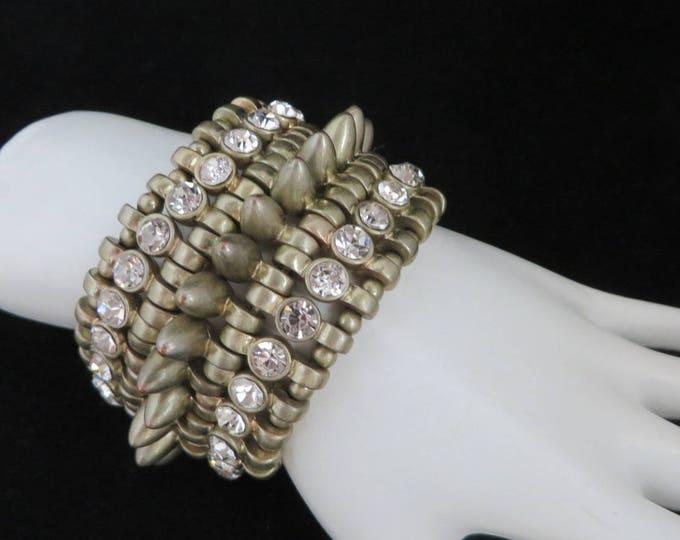 Gold Tone Stud Bracelet, Vintage Rhinestone Stretch Bracelet, Wide Heavy Metal Bracelet