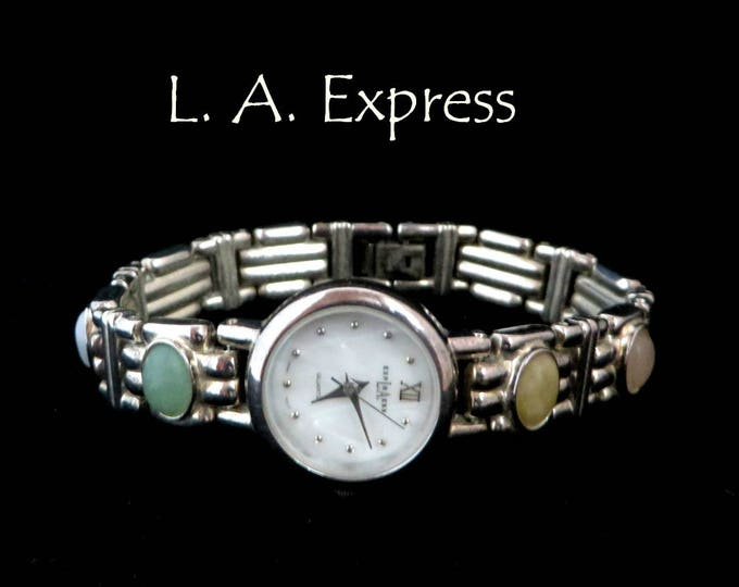 LA Express Vintage Ladies Watch, Semi-Precious Stones Bracelet, Silver Tone Wristwatch, FREE SHIPPING