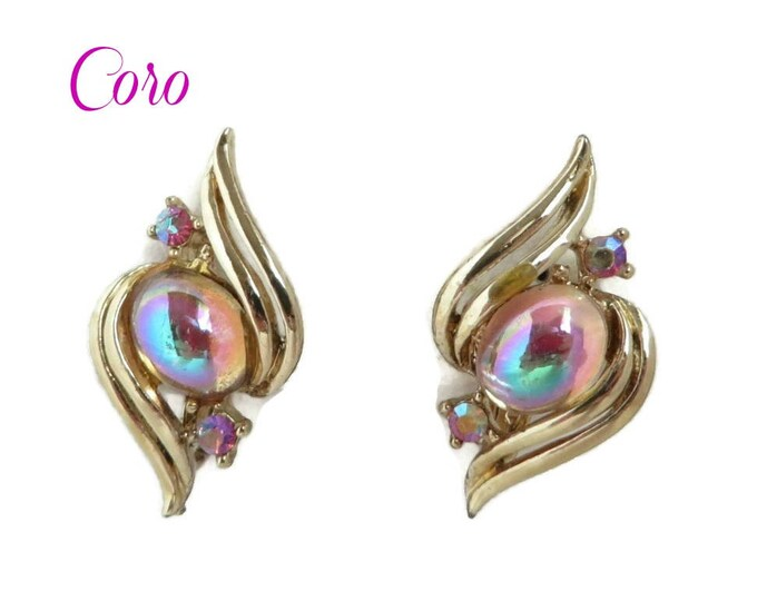 Coro Moonstone Earrings Vintage Gold Tone Rhinestone Clip-on Earrings, Gift idea