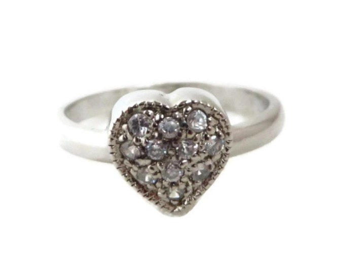 Sterling Silver CZ Heart Ring, Vintage Sweetheart Ring, Size 7
