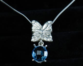 Natural swiss blue Topaz 925 sterling silver, 9ct 14k 18k 375 585 750 white yellow rose gold engagement butterfly pendant necklace chain