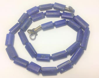 Natural Stunning Quality  Matte Finish Lapis Lazuli Beads Strand Necklace Afghanistan