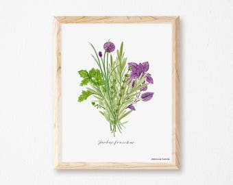 Art print with fresh herbs, illustration by Joannie Houle