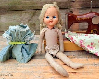 Vintage Celluloid Face Straw Filled Stuffed Rag Doll Retro Kids Playtime Collectible Old Well-Loved Vintage Rug Doll