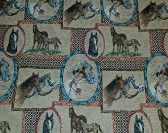 Horse Tapestry Fabric 1 and  2/3  yards 56 inches wide