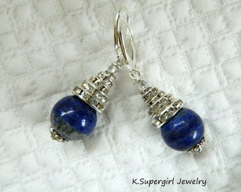 Sodalite stone Earrings. Blue Sodalite is associated with the Venus planet, most suitable for Sagittarius and the Waters