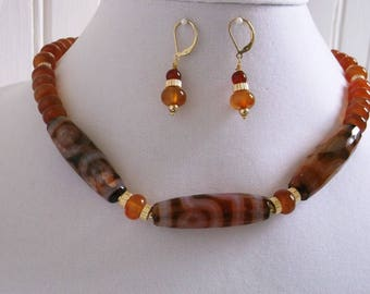 Carnelian-Fancy Eye Agate-Gold 17 inch Necklace and Earrings Set.  Free Shipping  One of a Kind